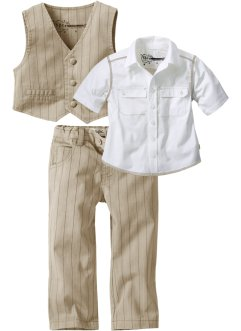 Hemd + Weste + Hose (3-tlg. Set), bpc bonprix collection, beige,weiss