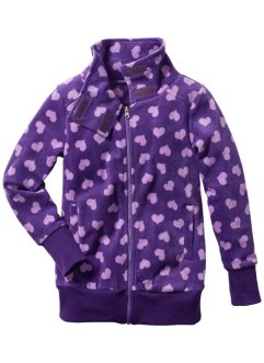 Fleece-Jacke, bpc bonprix collection, flieder/lila allover Herzen