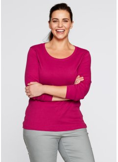 Basic Baumwoll Rib-Jersey, bpc bonprix collection, beerenrot