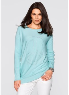 Long-Pullover mit Peace-Dekosteinapplikation, bpc selection