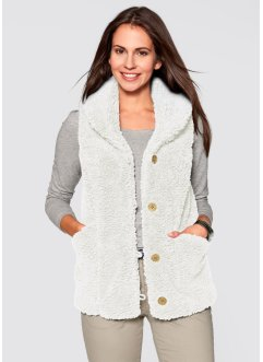 Teddy-Fleece-Weste, bpc bonprix collection, wollweiss