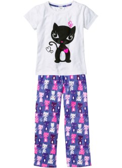 Pyjama (2-tlg. Set), bpc bonprix collection, weiss/lilablau