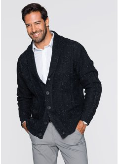 Strickjacke mit Schalkragen und Effektgarn Regular Fit, bpc selection, dunkelanthrazit