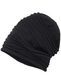 geraffte Beanie uni, bpc bonprix collection, schwarz