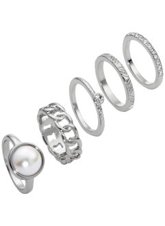 5-tlg. Ring-Set, bpc bonprix collection, silberfarben