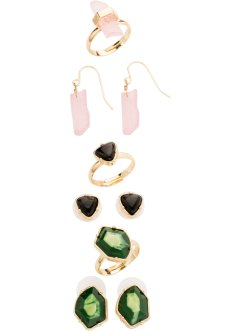 Set Ohrringe + Ringe mit Steinen, bpc bonprix collection, goldfarben/multi