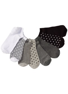 Lot de 8 paires de socquettes, bpc bonprix collection, rayé/pois