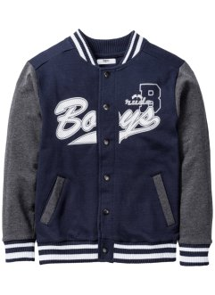 College Sweatjacke, bpc bonprix collection, dunkelblau/anthrazit meliert