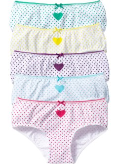 Panty (5er-Pack), bpc bonprix collection, weiss/türkis/pink/gelb/lila/grün