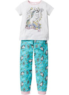 Pyjama (2-tlg. Set), bpc bonprix collection, wollweiss/aqua