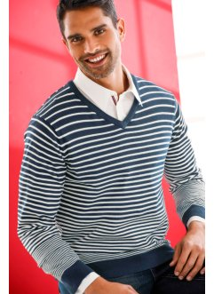 Ringel-V-Pullover Regular Fit, bpc bonprix collection, dunkelblau/weiss gestreift