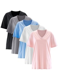 Basic Baumwollshirt Shirt Single-Jersey, bpc bonprix collection, perlrosa+perlblau+anthrazit meliert+weiss+schwarz