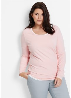Basic Baumwollshirt Stretch-Jersey, bpc bonprix collection, perlrosa