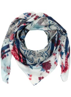 klassisches Seidentuch Ornamente, bpc bonprix collection, creme/blau