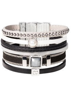 breites Armband, bpc bonprix collection, schwarz/grau