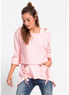 Ensemble : sweat-shirt et top, RAINBOW, rose dragée