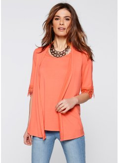 2-in-1-Shirt mit Spitze, bpc selection, lachs