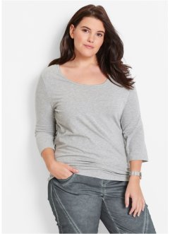 Stretch-Shirt mit 3/4-Arm, bpc bonprix collection, hellgrau meliert