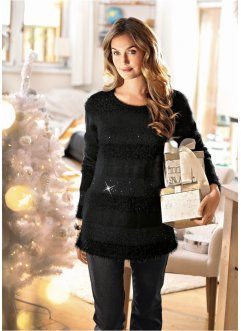 Pullover mit Pailletten, bpc bonprix collection, schwarz gestreift