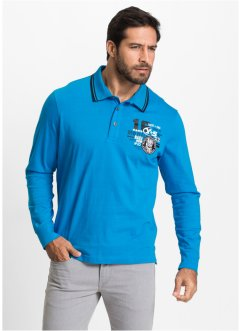 Langarmpoloshirt im Regular Fit, bpc selection, capriblau