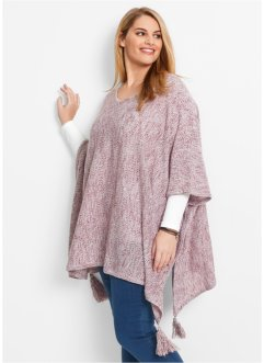 Pull poncho, bpc bonprix collection, rouge érable chiné