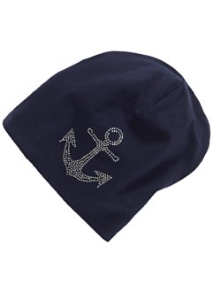 Jersey-Beanie mit Strass, bpc bonprix collection, blau/Anker
