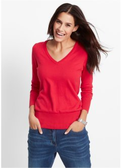 Basic Feinstrick-Pullover, bpc bonprix collection, rot