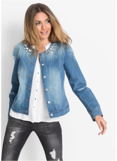Jeansjacke mit Steinchen-Verzierung, BODYFLIRT, light blue denim