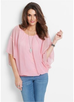 Bluse im Usedlook, bpc selection premium, puderrosa