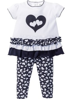 Baby-T-Shirt + Leggings (2-tlg.) Bio-Baumwolle, bpc bonprix collection, weiss/dunkelblau