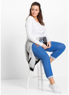 Pantalon sweat longueur 7/8, bpc bonprix collection, bleu azur chiné