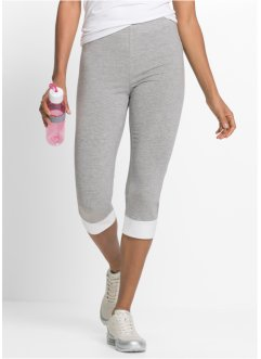 Capri Leggings, bpc bonprix collection, hellgrau meliert/weiss