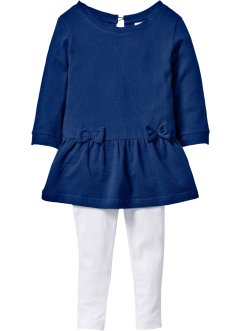 Sweatkleid in Jeansoptik + Leggings (2-tlg. Set), bpc bonprix collection, jeansblau/weiss