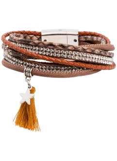 Wickelarmband mit Troddel, bpc bonprix collection, cognac