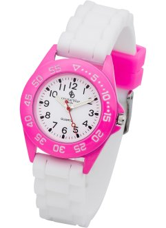 Kinderuhr, bpc bonprix collection, rosa/ weiss