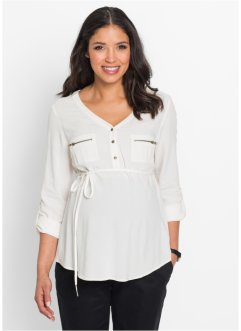 Umstandsbluse mit Bindeband, bpc bonprix collection, wollweiss