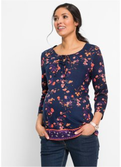 Umstands-Shirtbluse, bpc bonprix collection, dunkelblau/mandarine geblümt