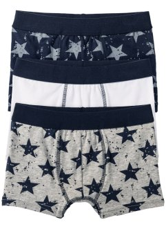 Boxershorts (3er-Pack), bpc bonprix collection, dunkelblau/weiss/hellgrau meliert