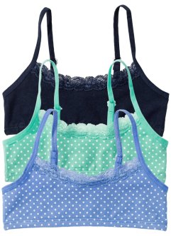 Bustier (3er-Pack), bpc bonprix collection, mint/mittelblau/dunkelblau