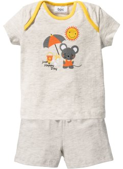 Baby T-Shirt + Shorts (2-tlg. Set) Bio-Baumwolle, bpc bonprix collection, naturmeliert