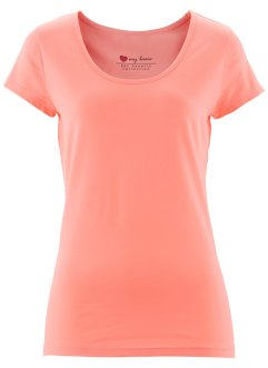 Basic Baumwollshirt Stretch-Jersey, bpc bonprix collection, lachsrosa