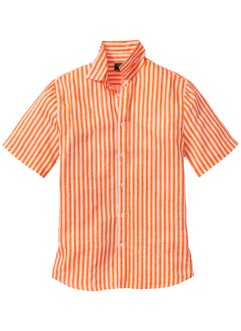 Kurzarm-Leinenhemd Regular Fit, bpc selection, orange/weiss gestreift