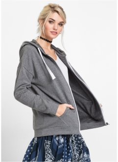 MUST-HAVE : Gilet zippé oversized Boyfriend, RAINBOW, gris chiné