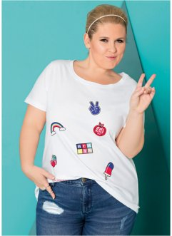 T-shirt avec écussons - designed by Maite Kelly, bpc bonprix collection, blanc imprimé
