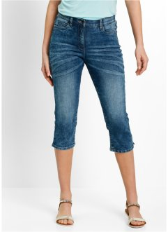 Stretch-Capri-Jeans im Used-Look, bpc bonprix collection, blue stone