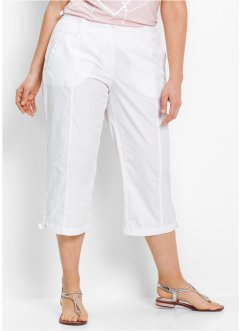 Pantalon 3/4 brodé, bpc bonprix collection, blanc