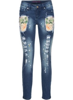 Bunte Jeans in Used-Optik, RAINBOW, blue stone