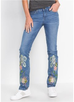 Slim Jeans mit Stickerei am Saum, RAINBOW