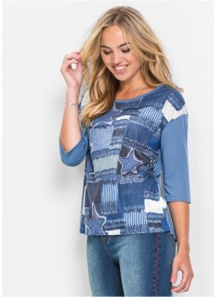 Shirt mit Denim Print, RAINBOW