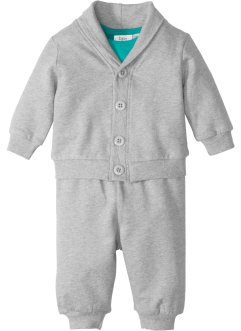 Baby Sweatjacke + Sweathose + Body (3-tlg.) Bio-Baumwolle, bpc bonprix collection